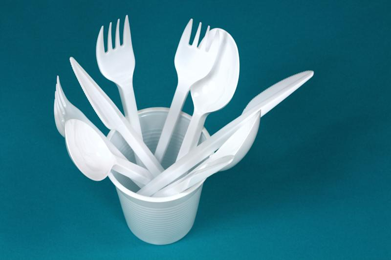 Single use plastic items such as plates and cutlery will be banned from Ikea restaurants. Source GettyMore