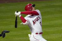 Los Angeles Angels' Shohei Ohtani swings for a strike during the first inning of an Opening Day baseball game against the Chicago White Sox Thursday, April 1, 2021, in Anaheim, Calif. (AP Photo/Mark J. Terrill)