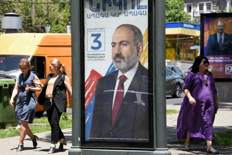 """PM Nikol Pashinyan has over the past weeks ramped up rhetoric and brandished a hammer at recent campaign rallies while urging voters to give him a """"steel mandate"""" to crush critics"""
