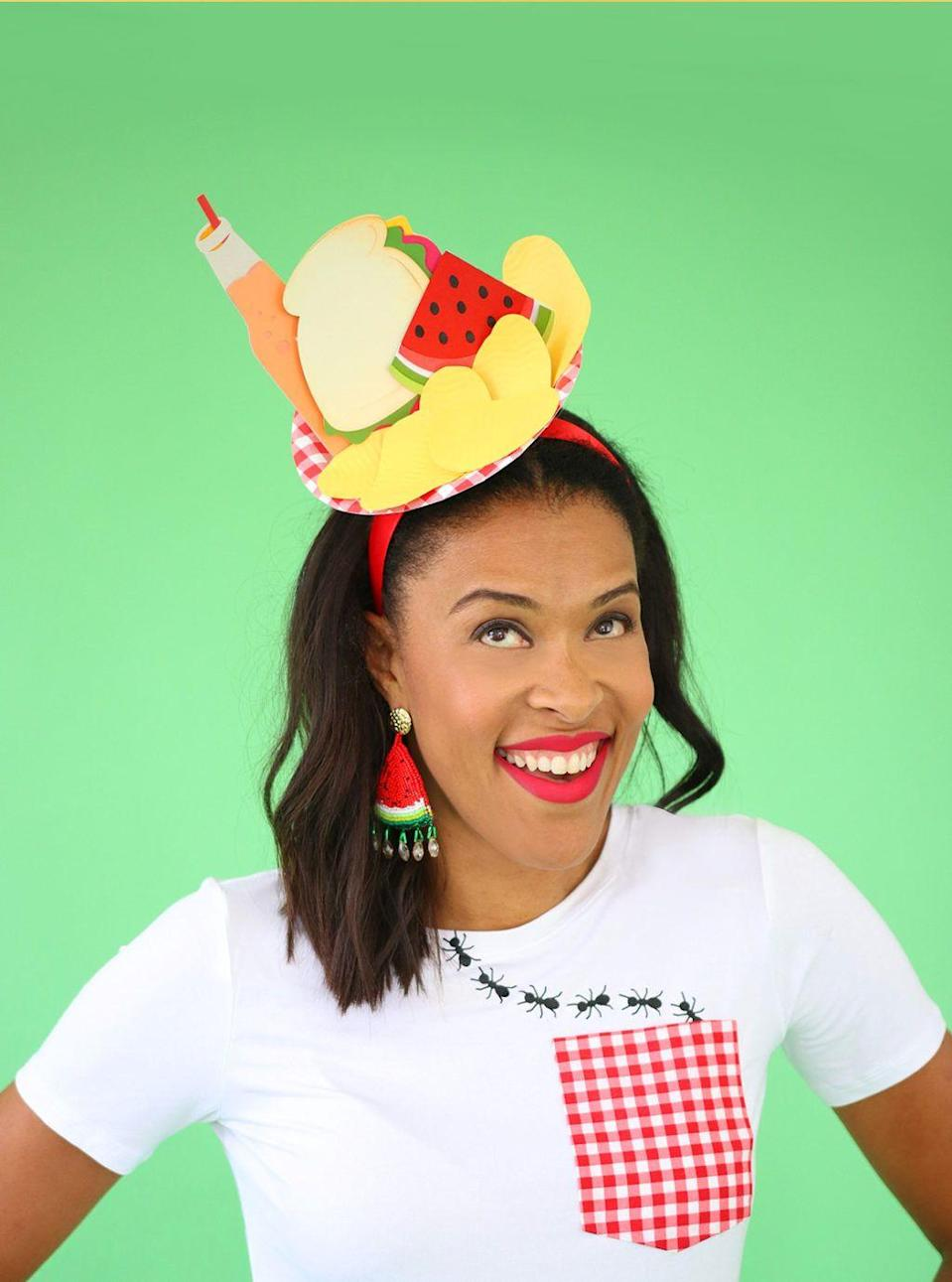"""<p>Amber Kemp-Gerstel added a gingham pocket to a plain white T-shirt and then topped off the look with a paper picnic spread!</p><p><strong>Get the tutorial at <a href=""""https://damasklove.com/picnic/"""" rel=""""nofollow noopener"""" target=""""_blank"""" data-ylk=""""slk:Damask Love"""" class=""""link rapid-noclick-resp"""">Damask Love</a>.</strong></p>"""