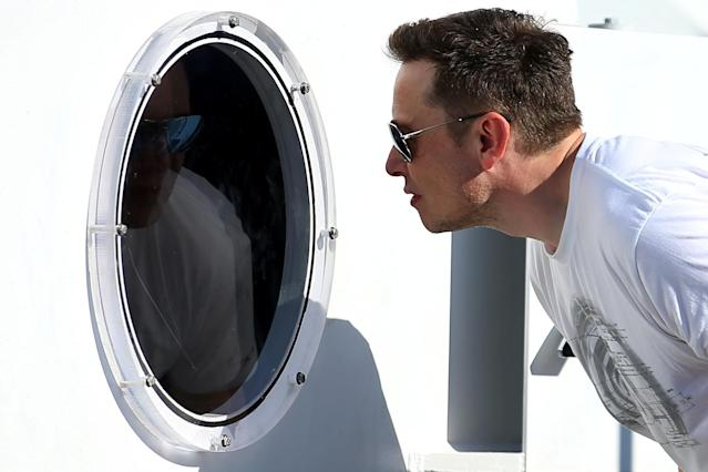 Elon Musk, founder, CEO and lead designer at SpaceX and co-founder of Tesla, checks out the SpaceX Hyperloop Pod Competition II in Hawthorne, California, U.S., August 27, 2017. REUTERS/Mike Blake