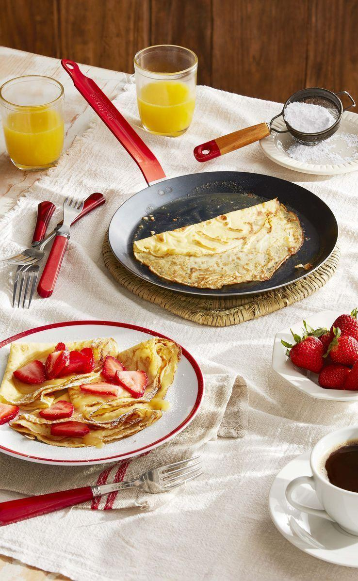 """<p>Nothing says fancy like crepes! Crepe batter can be made up to 2 days ahead. Store in refrigerator and stir just before using.</p><p><strong><a href=""""https://www.countryliving.com/food-drinks/a32042783/crepes-with-strawberries-and-lemon-curd/"""" rel=""""nofollow noopener"""" target=""""_blank"""" data-ylk=""""slk:Get the recipe"""" class=""""link rapid-noclick-resp"""">Get the recipe</a>.</strong></p><p><a class=""""link rapid-noclick-resp"""" href=""""https://go.redirectingat.com?id=74968X1596630&url=https%3A%2F%2Fwww.williams-sonoma.com%2Fproducts%2Fde-buyer-french-steel-crepe-pan%2F&sref=https%3A%2F%2Fwww.countryliving.com%2Ffood-drinks%2Fg1681%2Fmothers-day-breakfast-in-bed%2F"""" rel=""""nofollow noopener"""" target=""""_blank"""" data-ylk=""""slk:SHOP CREPE PANS"""">SHOP CREPE PANS</a></p>"""