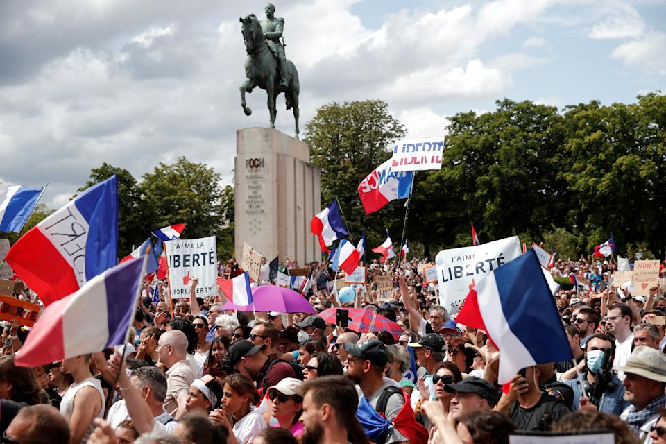 Protesters attend a demonstration called by the French nationalist party