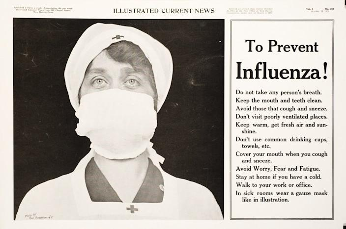 "<div class=""inline-image__caption""><p>A Red Cross ad from the 1918 pandemic.</p></div> <div class=""inline-image__credit"">U.S. National Library of Medicine</div>"