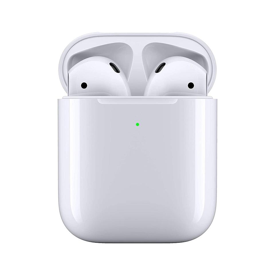 "<br><br><strong>Apple</strong> AirPods with Wireless Charging Case, $, available at <a href=""https://amzn.to/2SZ6HnQ"" rel=""nofollow noopener"" target=""_blank"" data-ylk=""slk:Amazon"" class=""link rapid-noclick-resp"">Amazon</a>"