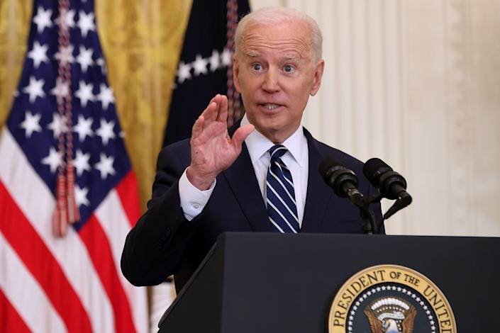 President Joe Biden will speak with reporters at the president's first press conference in the East Room of the White House on March 25, 2021.  (Chip Somodevilla / Getty Images)