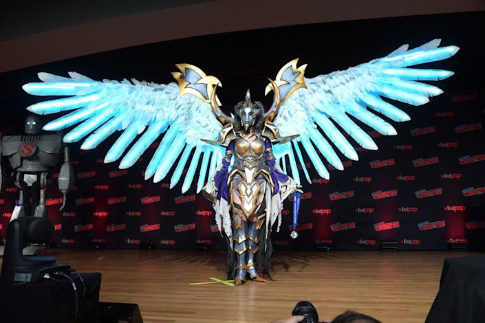 """<div class=""""inline-image__caption""""><p>Cosplayer poses onstage during the NYCC Championships of Cosplay Presented by Singer at New York Comic Con 2019 Day 3 at Jacob K. Javits Convention Center on October 05, 2019 in New York City. (</p></div> <div class=""""inline-image__credit"""">Ben Gabbe/Getty</div>"""