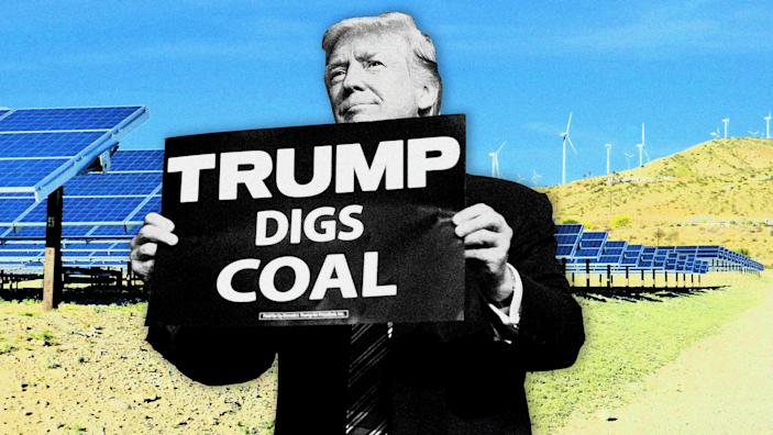 President Trump is outspoken in his support for the coal industry, but how much can he change the future of energy? (Photo illustration: Yahoo News; photos: Saul Loeb/AFP/Getty Images, Moment/Getty Images)