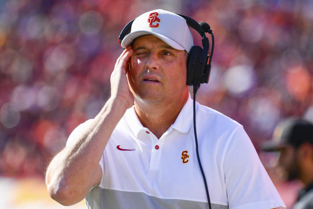 Clay Helton and USC have a 13-12 record in the last two seasons. (Photo by Brian Rothmuller/Icon Sportswire via Getty Images)