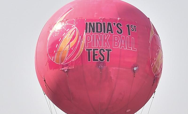 A massive pink blimp has been on display at Eden Gardens. PTI