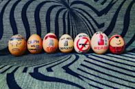 Scores of Myanmar protesters decorated eggs with political messages on Easter Sunday