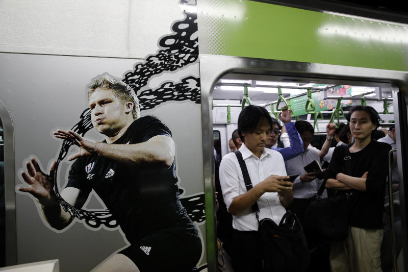 The Latest: Japan beats Russia 30-10 in World Cup opener
