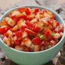 """<p>It's hard to believe that this salsa would be good, but trust us—it's amazing. Use it exactly how you would a tomato-based salsa: with chips, as a condiment on fish, or, frankly, with a spoon.</p><p>Get the <a href=""""https://www.delish.com/uk/cooking/recipes/a33059691/strawberry-salsa-recipe/"""" rel=""""nofollow noopener"""" target=""""_blank"""" data-ylk=""""slk:Strawberry Salsa"""" class=""""link rapid-noclick-resp"""">Strawberry Salsa</a> recipe.</p>"""