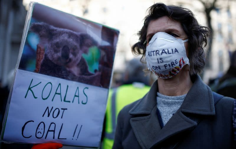 FILE PHOTO: FILE PHOTO: Protesters demonstrate over Australia's bushfires crisis, in London