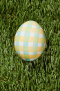 """<p>Nothing says spring like a cheerful gingham pattern. Use watercolor paints and a flat-tipped paintbrush, along with paint in any custom colors of your choosing, to get the look on a white egg. </p><p><em><a href=""""https://www.countryliving.com/diy-crafts/g26518694/egg-painting-techniques/"""" rel=""""nofollow noopener"""" target=""""_blank"""" data-ylk=""""slk:Get more ideas from Country Living"""" class=""""link rapid-noclick-resp"""">Get more ideas from Country Living</a> </em></p>"""