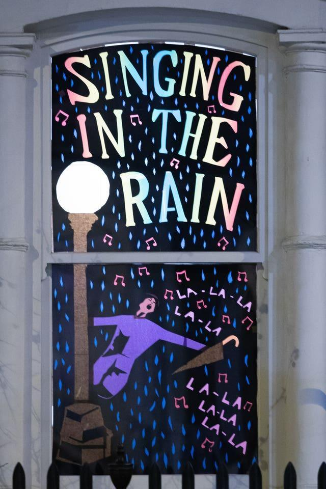 A Singing in the Rain window design