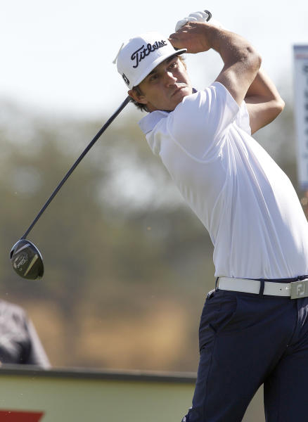 Brooks Koepka hits from the second tee during the third round of the Frys.com Open golf tournament, Saturday, Oct. 12, 2013, in San Martin, Calif. (AP Photo/Tony Avelar)