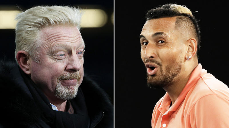 Aussie Nick Kyrgios (pictured right) reacting in awe after a point and Boris Becker (pictured left) watching sport.