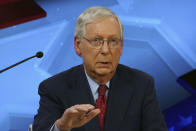 Senate Majority Leader Mitch McConnell, R-Ky., speaks during a debate with Democratic challenger Amy McGrath in Lexington, Ky., Monday, Oct. 12, 2020. (Michael Clubb/The Kentucky Kernel via AP, Pool)