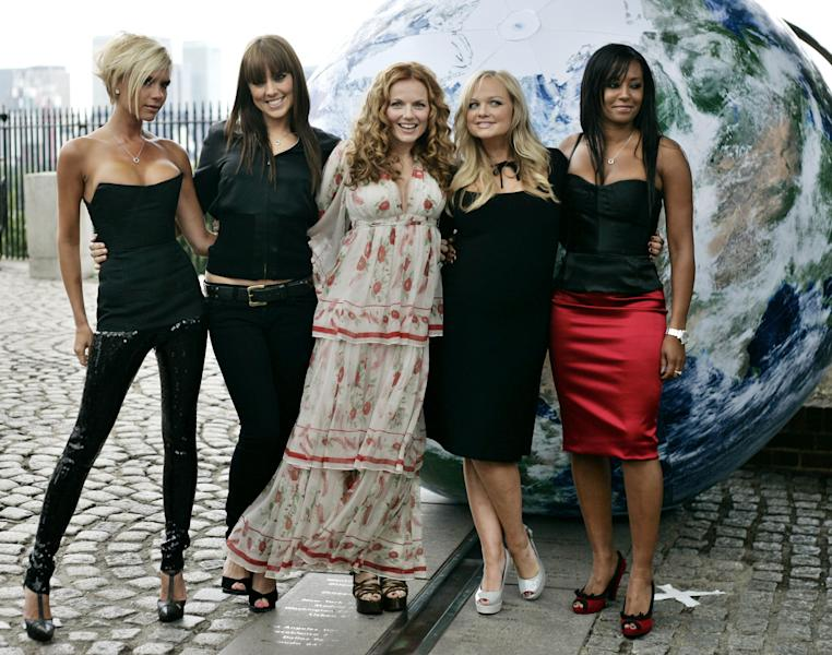 "FILE - This is a Thursday June 28, 2007 file photo of The Spice Girls, from left Victoria Beckham, Melanie Chisholm, Geri Halliwell, Emma Bunton, and Melanie Brown as they pose for the photographers on the grounds of the Royal Observatory in Greenwich, London. Geri ""Ginger Spice"" Halliwell paid tribute to ""our 1st Lady of girl power, Margaret Thatcher. Former British Prime Minister Margaret Thatcher, whose conservative ideas made an enduring impact on Britain died Monday April 8, 2013. She was 87. (AP Photo/Lefteris Pitarakis)"