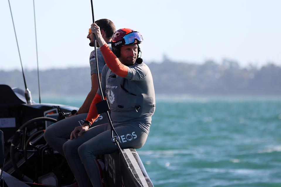 AUCKLAND, NEW ZEALAND - FEBRUARY 20: A small smile from Sir Ben Ainslie in INEOS Team UK after their win in race six against Prada Luna Rossa during the 2021 Prada Cup Final against INEOS Team UK on Auckland Harbour on February 20, 2021 in Auckland, New Zealand. (Photo by Fiona Goodall/Getty Images)
