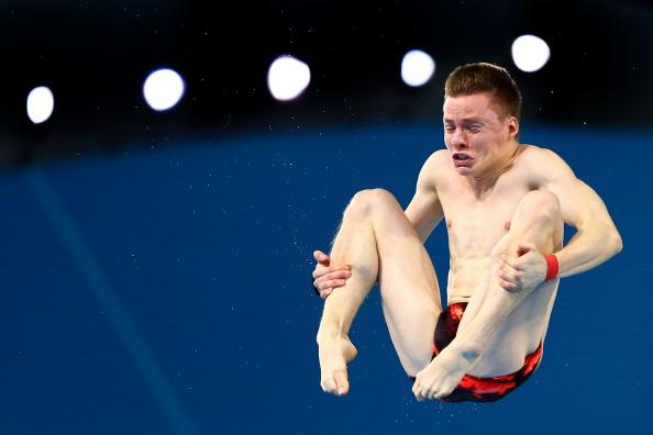 LONDON, ENGLAND - AUGUST 11:  Martin Wolfram of Germany competes in the Men's 10m Platform Diving Semifinal on Day 15 of the London 2012 Olympic Games at the Aquatics Centre on August 11, 2012 in London, England.  (Photo by Al Bello/Getty Images)