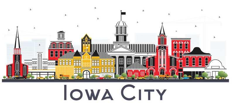 Illustration depicting Iowa City, Iowa.