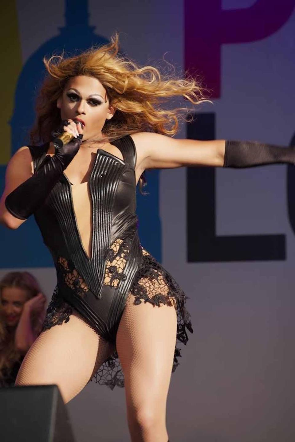 Aaron performing at London Pride in 2015 (PA Real Life/Aaron Carty)