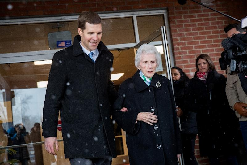 Democrat Conor Lamb, battling for a congressional seat in culturally conservative southwestern Pennsylvania, has embraced a rare campaign tactic among members of his party: avoid heavy criticism of President Donald Trump Democratic congressional candidate for Pennsylvania's 18th district, and his grandmother Barbara Lamb exit the polling station after she voted at Our Lady of Victory Church, March 13, 2018 in Carnegie, Pennsylvania. Voters head to the polls today as Lamb is running in a tight race for the vacated seat of Rep. Tim Murphy (R-PA) against Republican candidate Rick Saccone. Drew Angerer/Getty Images/AFPCARNEGIE, PA - MARCH 13: (L to R) Conor Lamb, Democratic congressional candidate for Pennsylvania's 18th district, and his grandmother Barbara Lamb exit the polling station after she voted at Our Lady of Victory Church, March 13, 2018 in Carnegie, Pennsylvania. Voters head to the polls today as Lamb is running in a tight race for the vacated seat of Rep. Tim Murphy (R-PA) against Republican candidate Rick Saccone. Drew Angerer/Getty Images/AFP (AFP Photo/Drew Angerer)