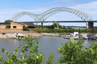 A crack in a steel beam, found the day before, has forced the closure of the Interstate 40 bridge that connects Arkansas and Tennessee, Wednesday, May 12, 2021, in Memphis, Tenn. (AP Photo/Adrian Sainz)