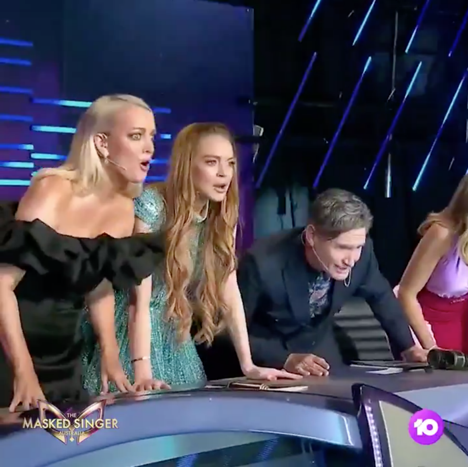 Lindsay Lohan was confused about who Gretel was when she was first unmasked on The Masked Singer Australia. Photo: Ten