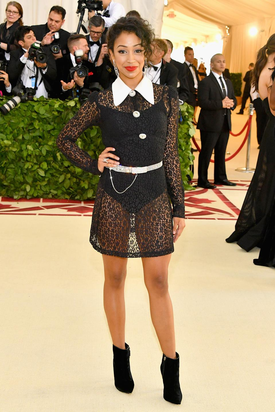 """<h1 class=""""title"""">Liza Koshy in Alessandra Rich, Sheryl Lowe jewelry and Sophia Webster shoes</h1><cite class=""""credit"""">Photo: Getty Images</cite>"""