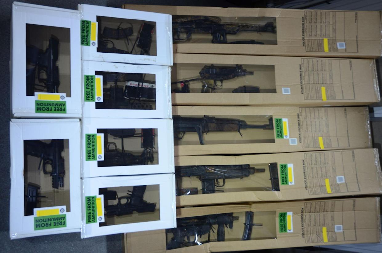 Firearms recovered by the NCA and PSNI in Co Down (NCA/PA)