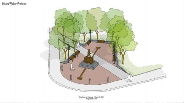 A concept design of the parkette to be built in Walkerville. (City of Windsor - image credit)