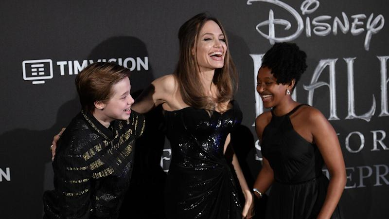 Angelina Jolie Beams With Shiloh and Zahara at 'Maleficent' Rome Premiere
