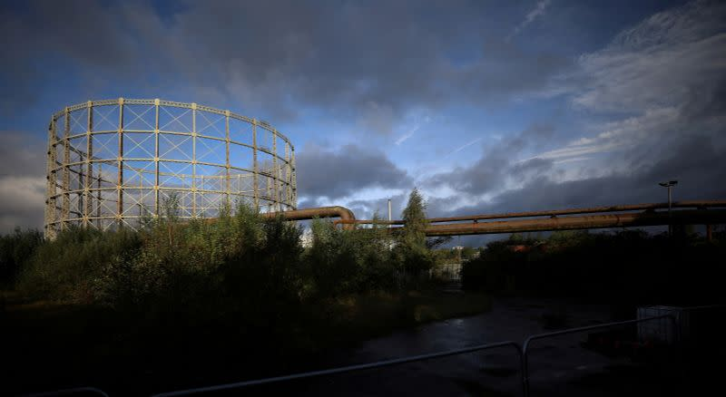 FILE PHOTO: Gas pipes are seen next to a disused gas holder in Manchester