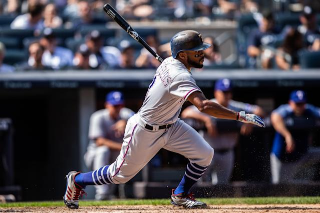 Delino DeShields is available in over 50% of leagues, and his speed is becoming more and more valuable. (Photo by Rob Tringali/SportsChrome/Getty Images)