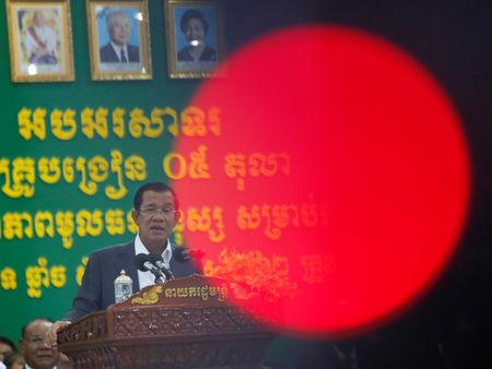 Cambodia's Prime Minister Hun Sen speaks during a World Teacher's Day event in Phnom Penh