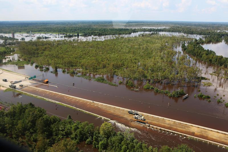 Highway I-10, a major connecting interstate, is underwater near Beaumont, Texas. (Melissa Jeltsen/HuffPost)