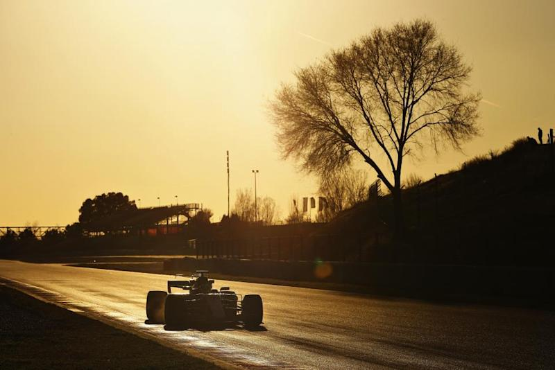 Lewis Hamilton behind the wheel of the Mercedes F1 WO8 at Circuit de Catalunya, Barcelona, March 1.