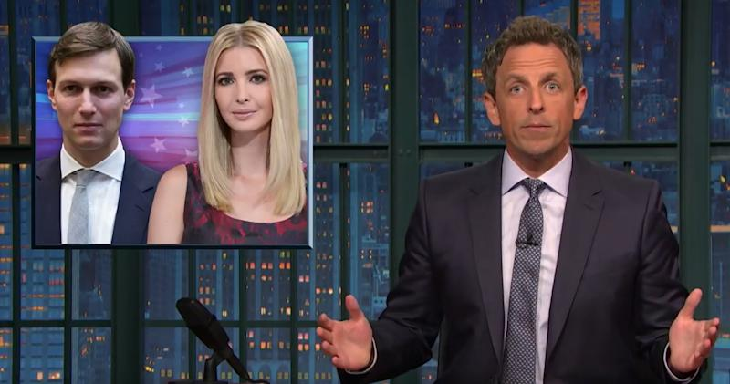 Seth Meyers Points Out Ivanka Trump and Jared Kushner Are Always on Vacation When Trump 'Goes Haywire'
