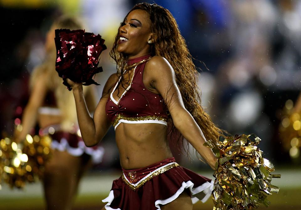 <p>Washington Redskins cheerleaders perform during a match between the Washington Redskins and the Dallas Cowboys on October 29, 2017, at FedExField in Landover, Maryland . (Photo by Daniel Kucin Jr./Icon Sportswire via Getty Images) </p>