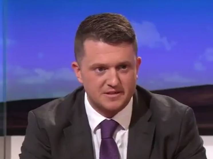 Tommy Robinson defended his actions in an interview with the BBC (Picture: BBC)