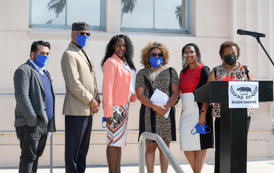 Supporters of four pro-Black ballot initiatives on the November California ballot gather at a press conference hosted by the California Democratic Party Black Caucus and Black leaders in San Diego. Among the proposition they support is 16, which would repeal an amendment to the state constitution that bans affirmative action.