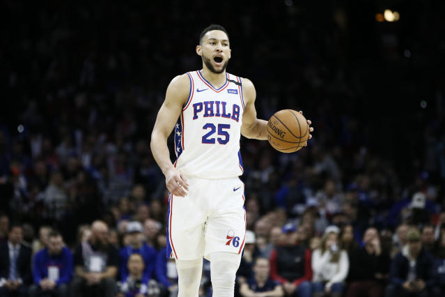 """<a class=""""link rapid-noclick-resp"""" href=""""/nba/teams/philadelphia/"""" data-ylk=""""slk:Philadelphia 76ers"""">Philadelphia 76ers</a>' <a class=""""link rapid-noclick-resp"""" href=""""/nba/players/5600/"""" data-ylk=""""slk:Ben Simmons"""">Ben Simmons</a> will be reevaluated in two weeks for a back injury. (AP Photo/Matt Slocum)"""