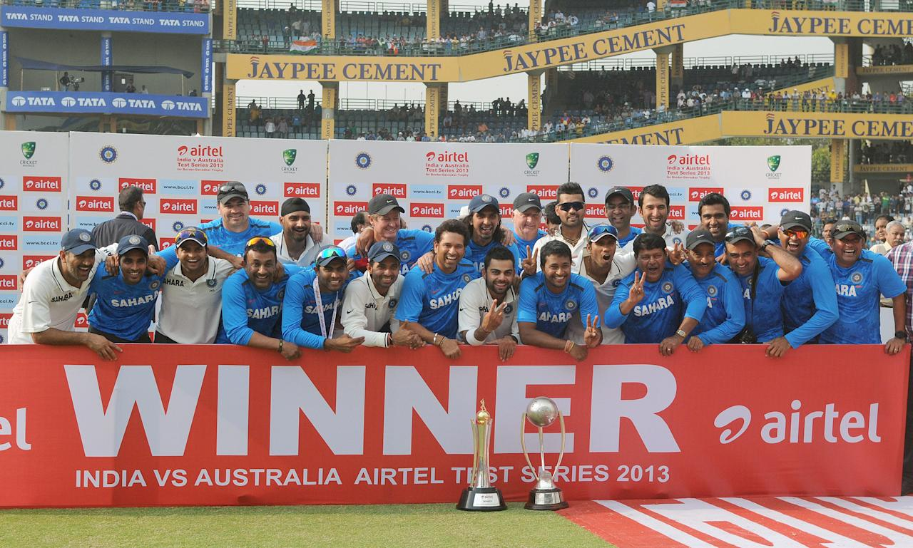 Indian Cricket team with the Border Gavaskar Trophy, after winning the Series between India & Australia, at Ferozeshah Kotla Stadium in Delhi on March 24, 2013. P D Photo by P S Kanwar