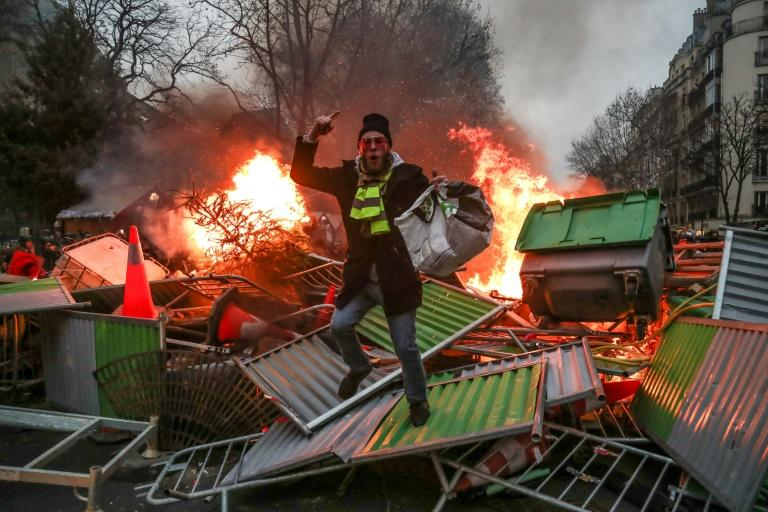 More than 84,000 people turned out for the ninth Saturday of demonstrations against President Emmanuel Macron since November, up from 50,000 the previous week