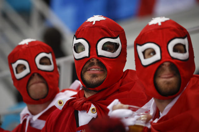 <p>Canadian fans watch during the first period of the Women's Gold Medal Hockey Game (United States and Canada) at the PyeongChang 2018 Winter Olympics in South Korea, Feb. 22, 2018.<br>(AP Photo/Jae C. Hong) </p>