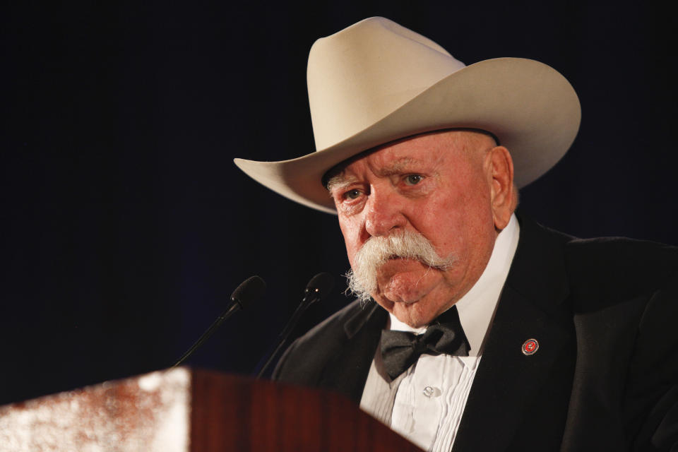 UNIVERSAL CITY, CA - SEPTEMBER 24: Actor Wilford Brimley speaks on stage at the 50th Anniversary Stuntmens Gala Honoring Harrison Ford on September 24, 2011 in Universal City, California. (Photo by Imeh Akpanudosen/Getty Images)