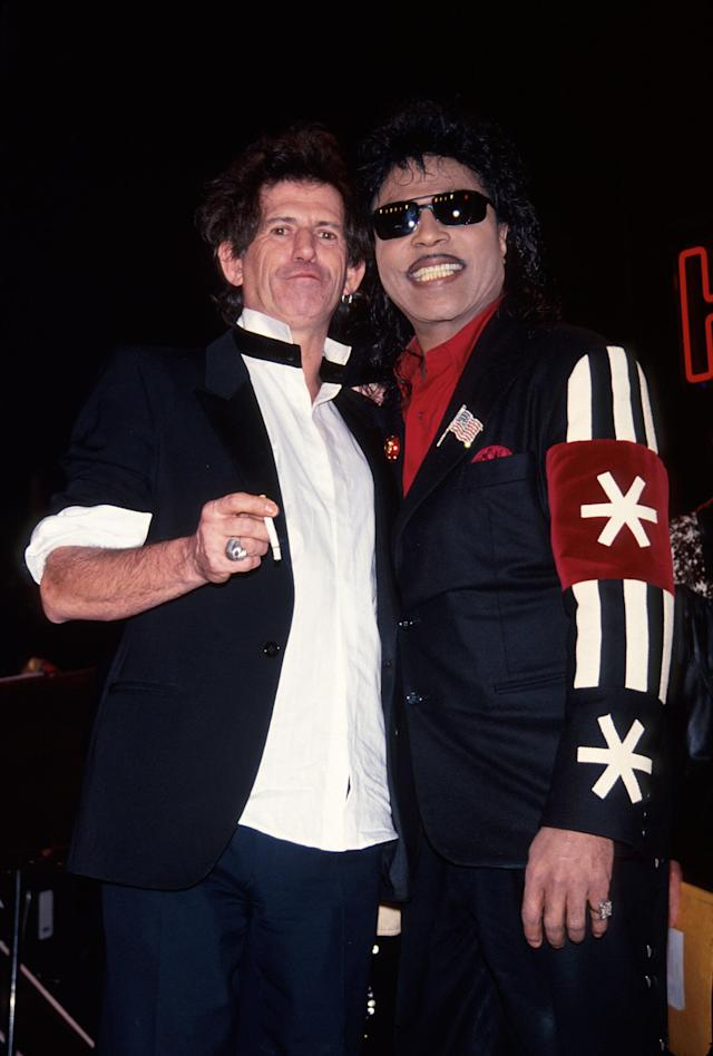 (L-R) Musicians Keith Richards and Little Richard. (Photo by Time Life Pictures/DMI/The LIFE Picture Collection via Getty Images)